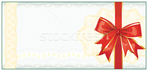 Golden Gift Certificate or Discount Coupon template / with red b Stock photo © Taiga