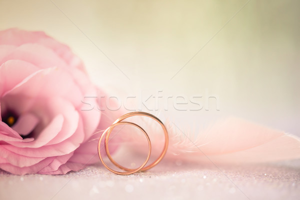 Wedding  Background with gold Rings and beautiful Eustoma rose f Stock photo © Taiga