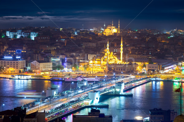 Panorama of the famous places of Istanbul at night Stock photo © Taiga