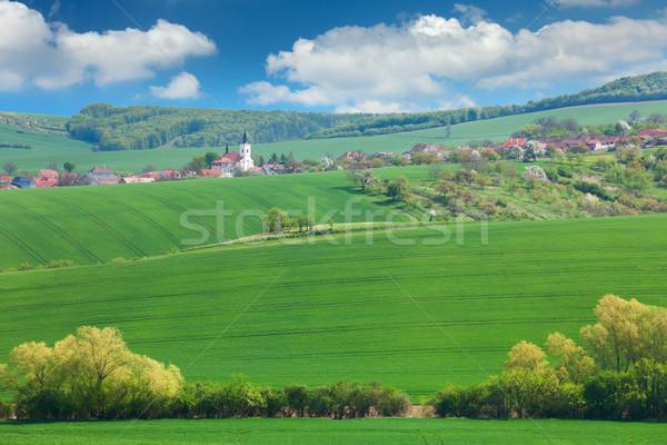 Kicsi európai város természet nyári vakáció dombok Stock fotó © Taiga