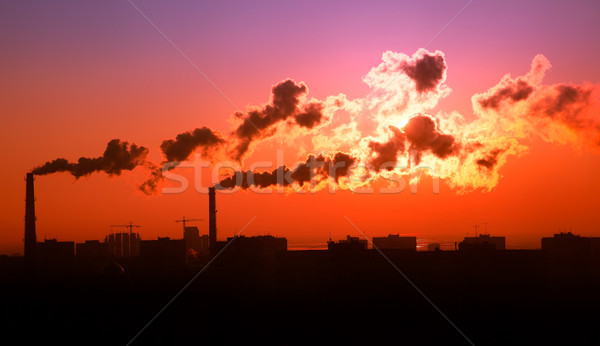 Exhaust smoke / Air pollution / Sunrise / Silhuette Stock photo © Taiga