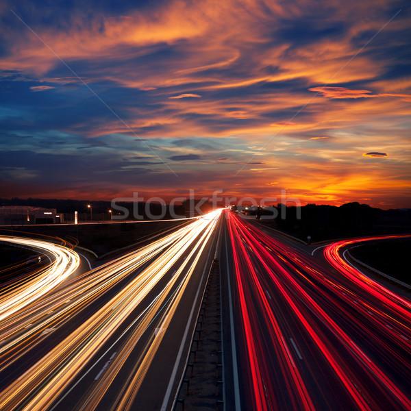 Foto stock: Acelerar · tráfego · dramático · pôr · do · sol · tempo · luz