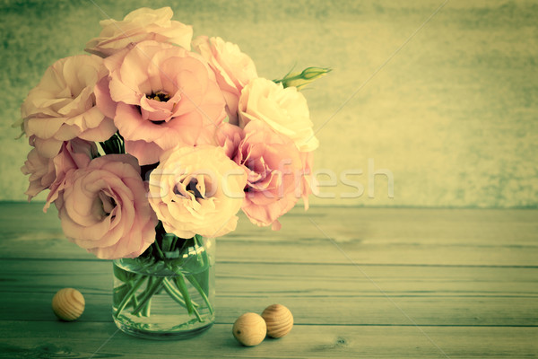 Gentle Flowers in a glass vase with copy space - retro toned Stock photo © Taiga