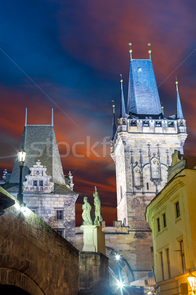 Famous Landmark - Medieval Towers, Sculpture and Lantern Stock photo © Taiga