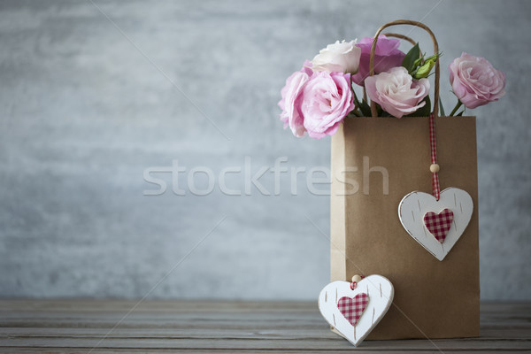 St. Valentines Day minimalistic background with flowers Stock photo © Taiga