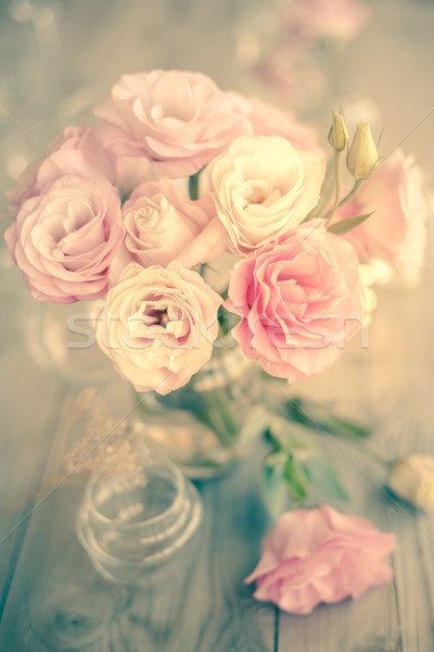 Vintage boeket mooie roze bloemen stilleven Stockfoto © Taiga