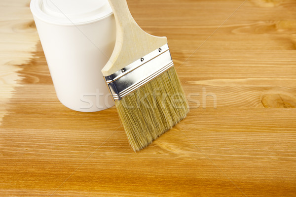 Wood texture, can and paintbrush / housework Stock photo © Taiga