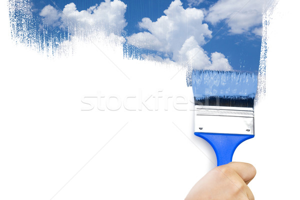 Painting sky / isolated on white with real paints texture / copy Stock photo © Taiga