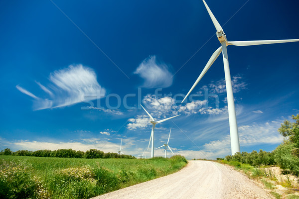 Wind Generator Turbines in beautiful Real Landscape Stock photo © Taiga