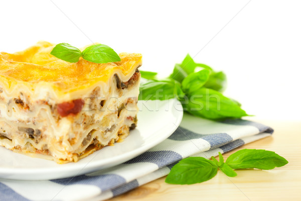 イタリア語 ラザニア 新鮮な バジル 白 ストックフォト © Taiga