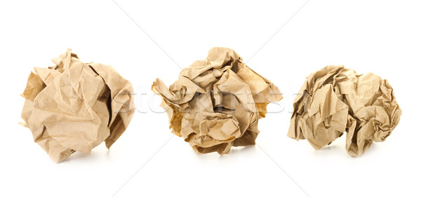 Set of  Brown Crumpled Paper Balls / isolated on white Stock photo © Taiga