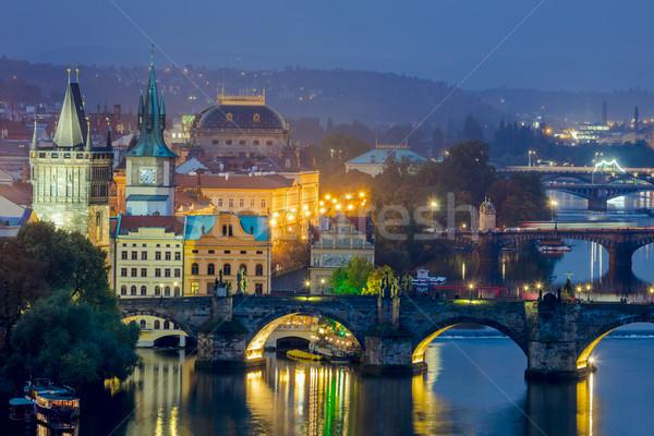Noto view Praga ponti sera tempo Foto d'archivio © Taiga