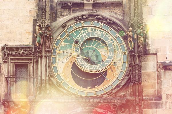 Praga astronomico clock vintage stile città vecchia Foto d'archivio © Taiga