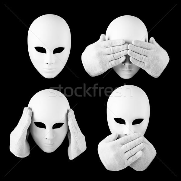Görmek hiçbir şey değil maske eller Stok fotoğraf © Taiga