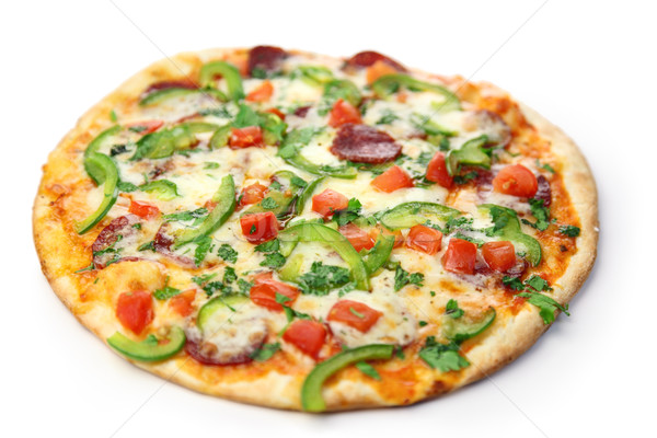 Pizza weiß Hintergrund Käse Fett Tomaten Stock foto © Taiga