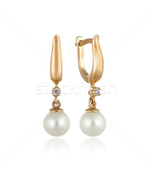 Pár arany fülbevalók gyémántok gyöngyök izolált Stock fotó © Taiga