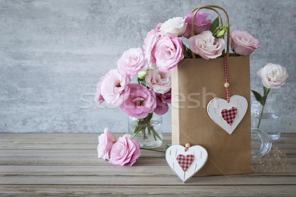 Romantikus retró stílus szeretet rózsák rózsaszín kézzel készített Stock fotó © Taiga