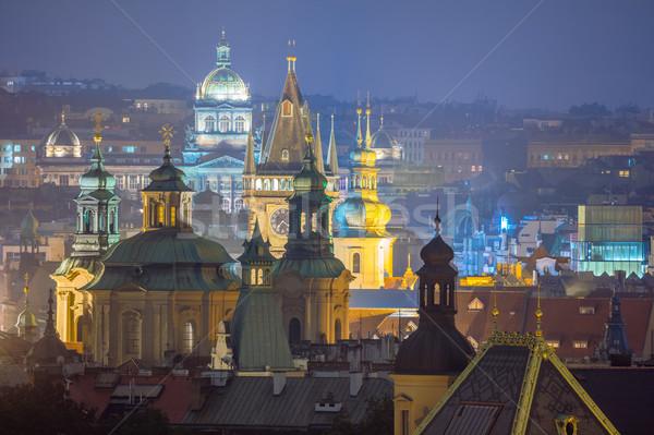 Prag fantastik çatılar tan towers Stok fotoğraf © Taiga