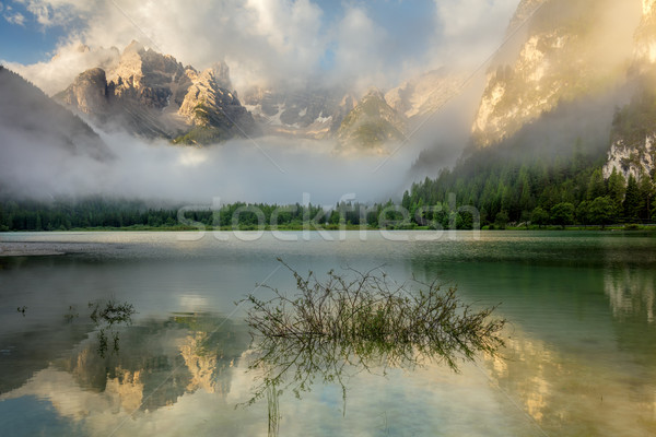 Beautiful Mountains Lake at the misty morning, nature landscape Stock photo © Taiga