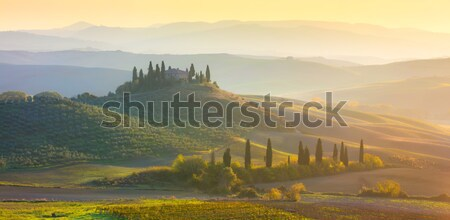 Panoramique sunrise matin Toscane paysage belle Photo stock © Taiga