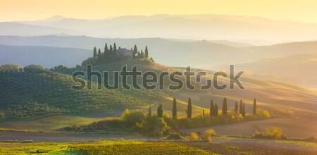 Stock photo: Panoramic Sunrise Morning Tuscany landscape with beautiful hills