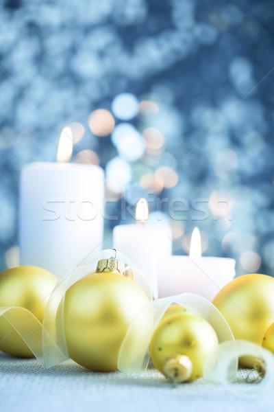 クリスマス 水色 キャンドル 火災 光 ストックフォト © Taiga