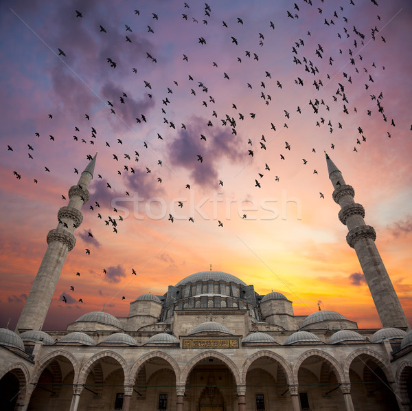 Magic Sunrise over Blue Mosque, beautiful sky with birds Stock photo © Taiga