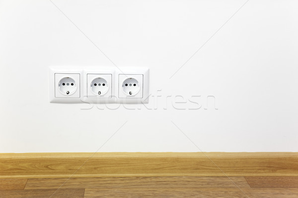 Empty interior  white wall  with power outlet Stock photo © Taiga
