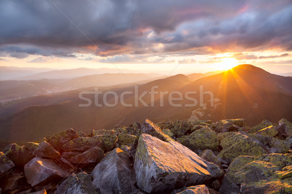 Majestic sunset in the mountains landscape. Dramatic sky and col Stock photo © Taiga