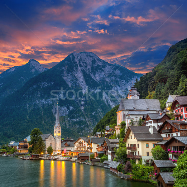 Hallstatt village in Alps and lake at dusk, Austria, Europe Stock photo © Taiga