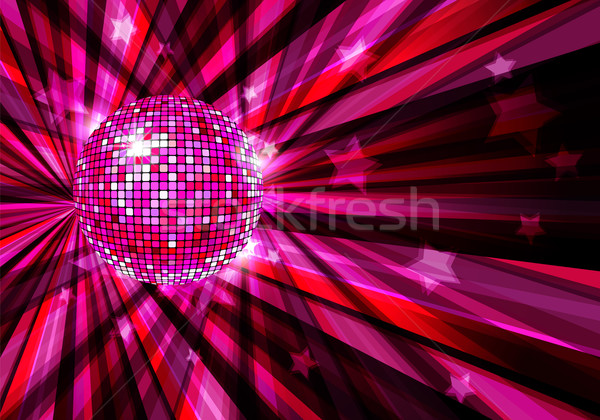 Disco Ball vector background with rays and stars / eps10 Stock photo © Taiga
