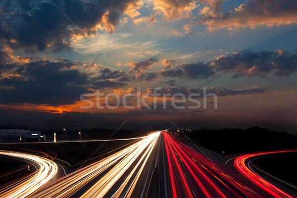 La exposición a largo tráfico noche resumen urbanas velocidad Foto stock © Taiga