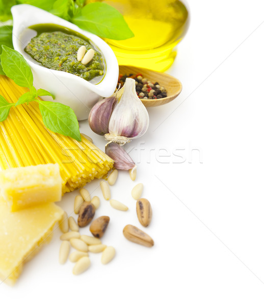 Italian food / pesto and pasta / border composition Stock photo © Taiga