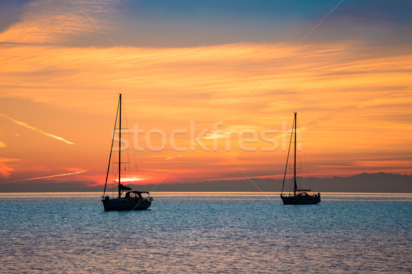 Stock photo: Yachts in the sea at sunset time