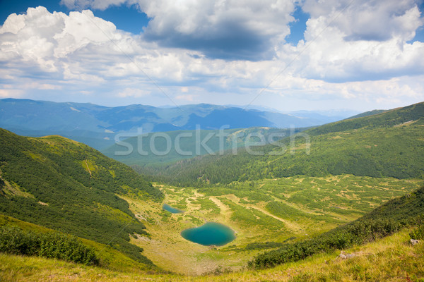 Stock photo:  Mountain Lanfscape with Blue Lake in sunny day