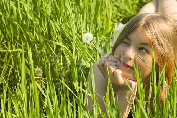 Menina dandelion verde prado grama meninas Foto stock © Taiga