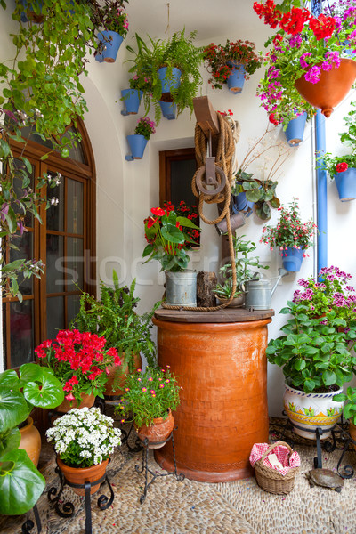 Courtyard with Flowers decorated and Old Well - Cordoba Patio Fe Stock photo © Taiga