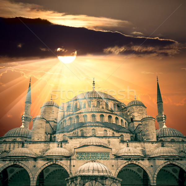 Amazing view of Blue Mosque with sun and  sunbeams Stock photo © Taiga