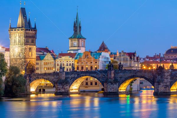 Célèbre Prague pont nuit temps Photo stock © Taiga