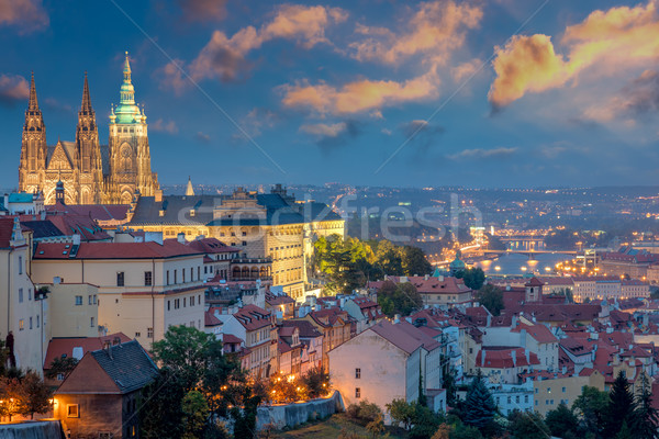 Prague at sundown time and Famous Saint Vitus' Cathedral Stock photo © Taiga