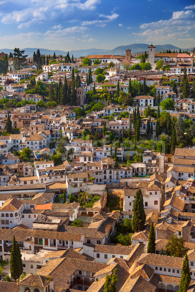 Aerial View of the historical city of Granada, Spain Stock photo © Taiga
