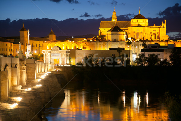 Famos Mosque (Mezquita) and  Roman Bridge at night, Spain, Euro Stock photo © Taiga