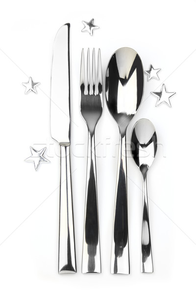 spoon, knife, teaspoon and fork with stars Stock photo © Taiga