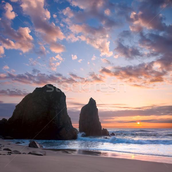 Ocean krajobraz zachód słońca romantyczny czasu duży Zdjęcia stock © Taiga