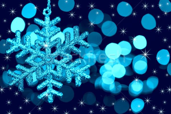 Stok fotoğraf: Noel · dekorasyon · kar · tanesi · ışıklar · Yıldız · mavi