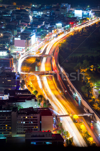 Night road with motion traffic in residential district, city lif Stock photo © Taiga