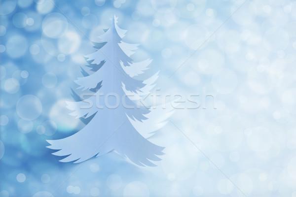 White Handmade Paper Christmas Tree with defocused light Stock photo © Taiga