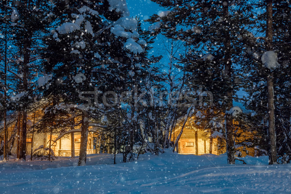 Photo stock: Nuit · faible · bois · maisons · chaud · lumière