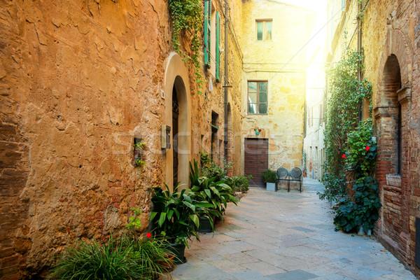 Old Mediterranean town - narrow street with flowers Stock photo © Taiga