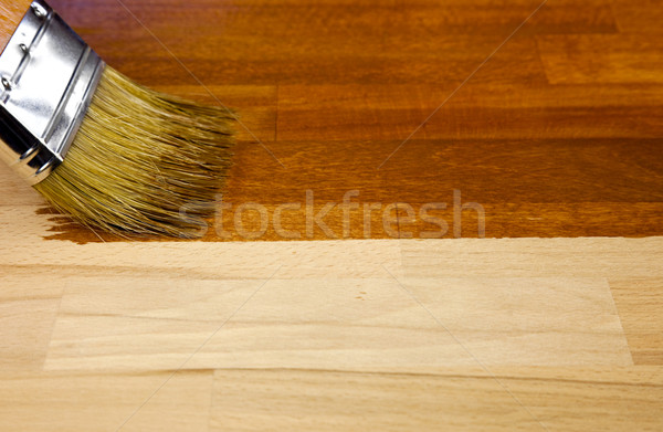 Stock photo: Wood texture and paintbrush / housework background